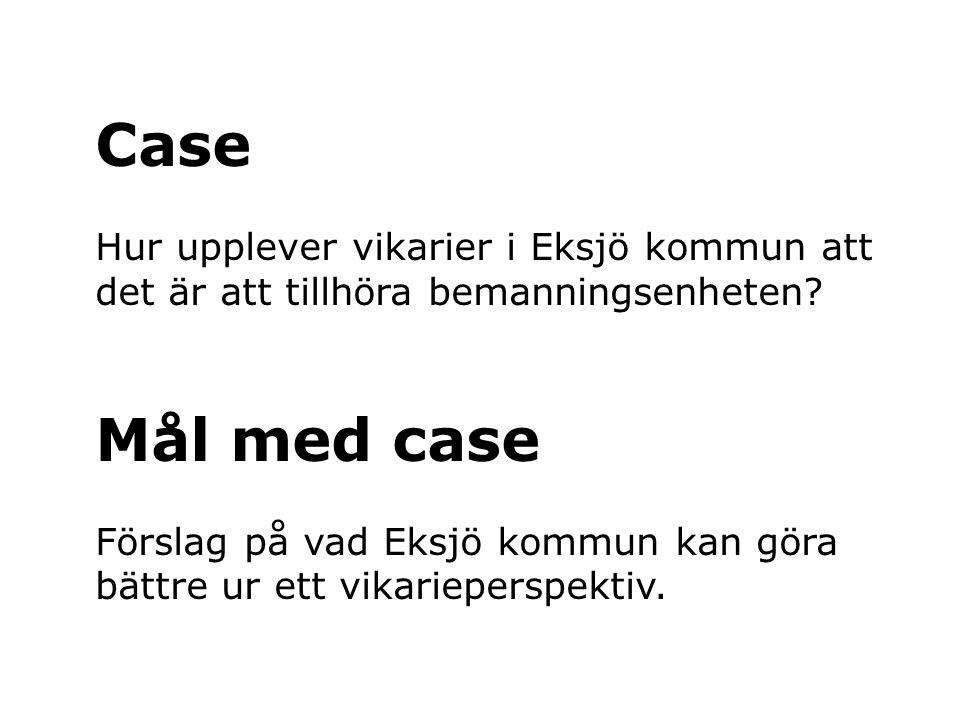 Case Hur upplever vikarier i Eksjö kommun att det är att tillhöra bemanningsenheten? Mål med case Förslag på vad Eksjö kommun kan göra bättre ur ett v