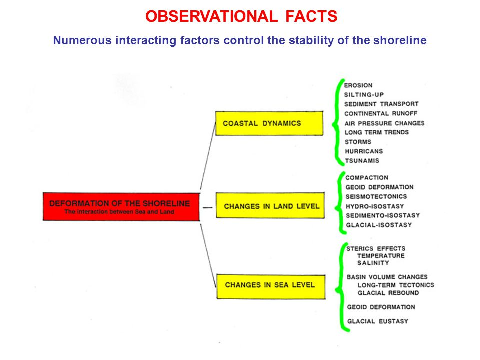 OBSERVATIONAL FACTS Numerous interacting factors control the stability of the shoreline