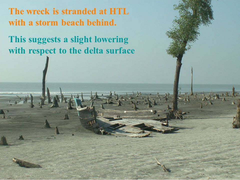 The wreck is stranded at HTL with a storm beach behind. This suggests a slight lowering with respect to the delta surface
