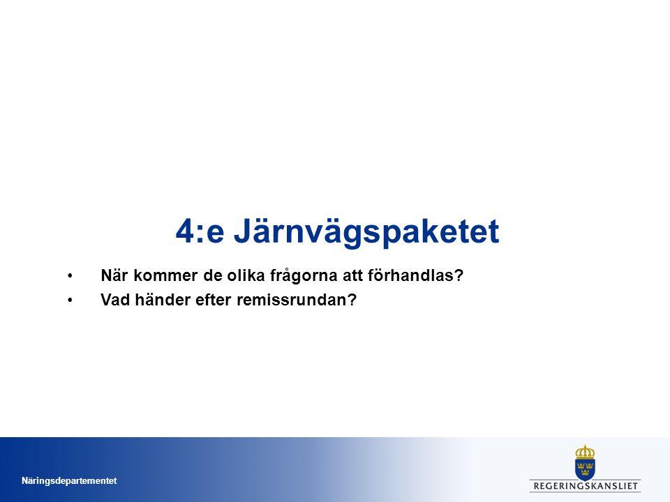 Näringsdepartementet 4:e Järnvägspaketet •När kommer de olika frågorna att förhandlas.
