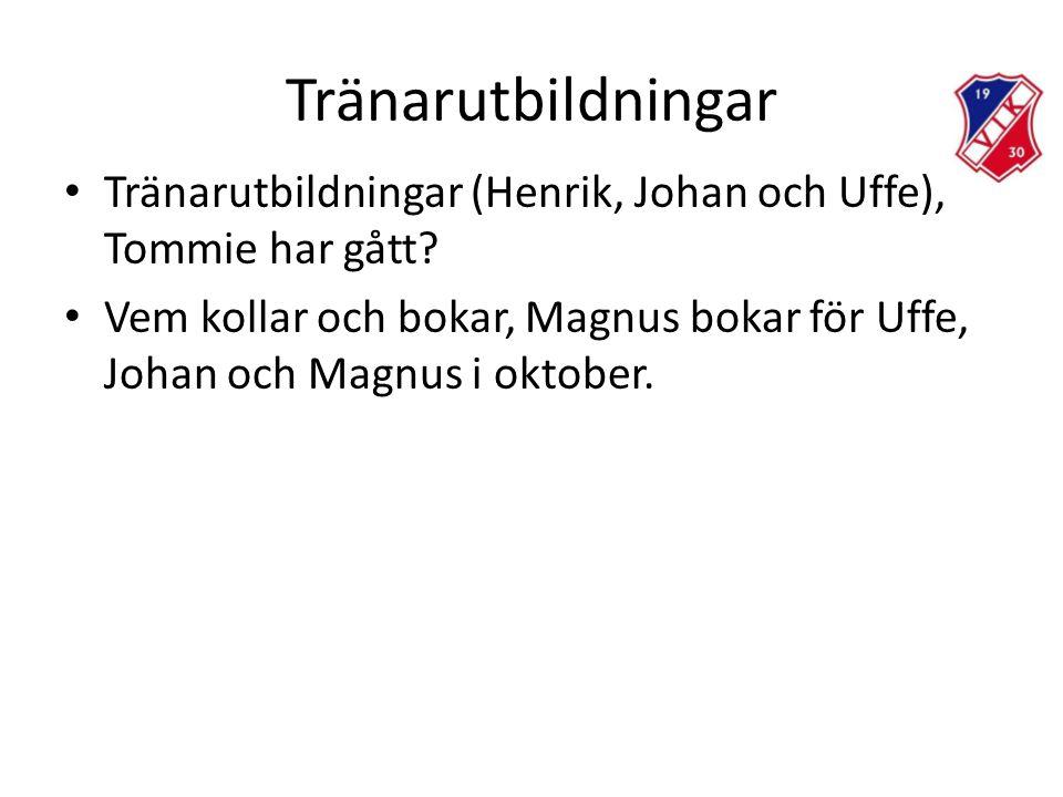 Tränarutbildningar • Tränarutbildningar (Henrik, Johan och Uffe), Tommie har gått.