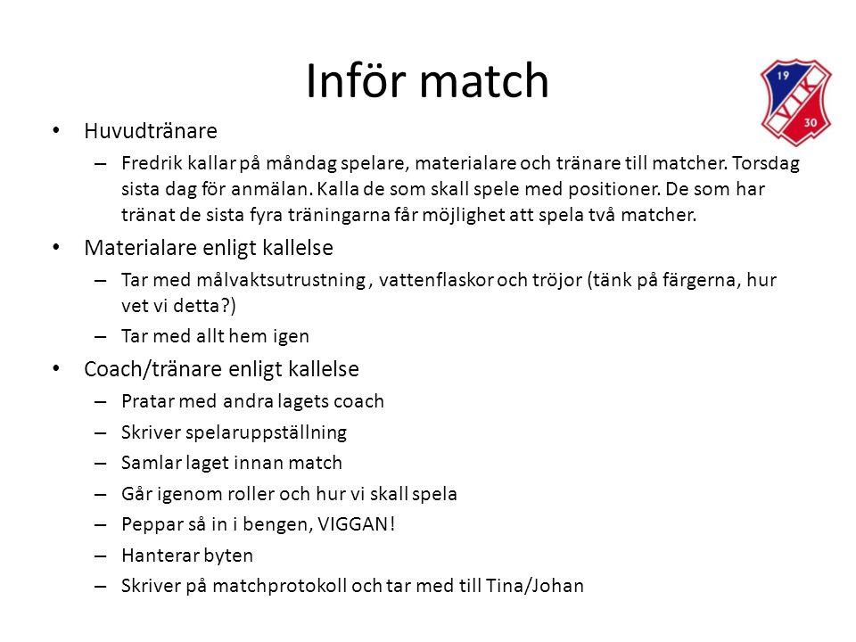 Inför match • Huvudtränare – Fredrik kallar på måndag spelare, materialare och tränare till matcher.