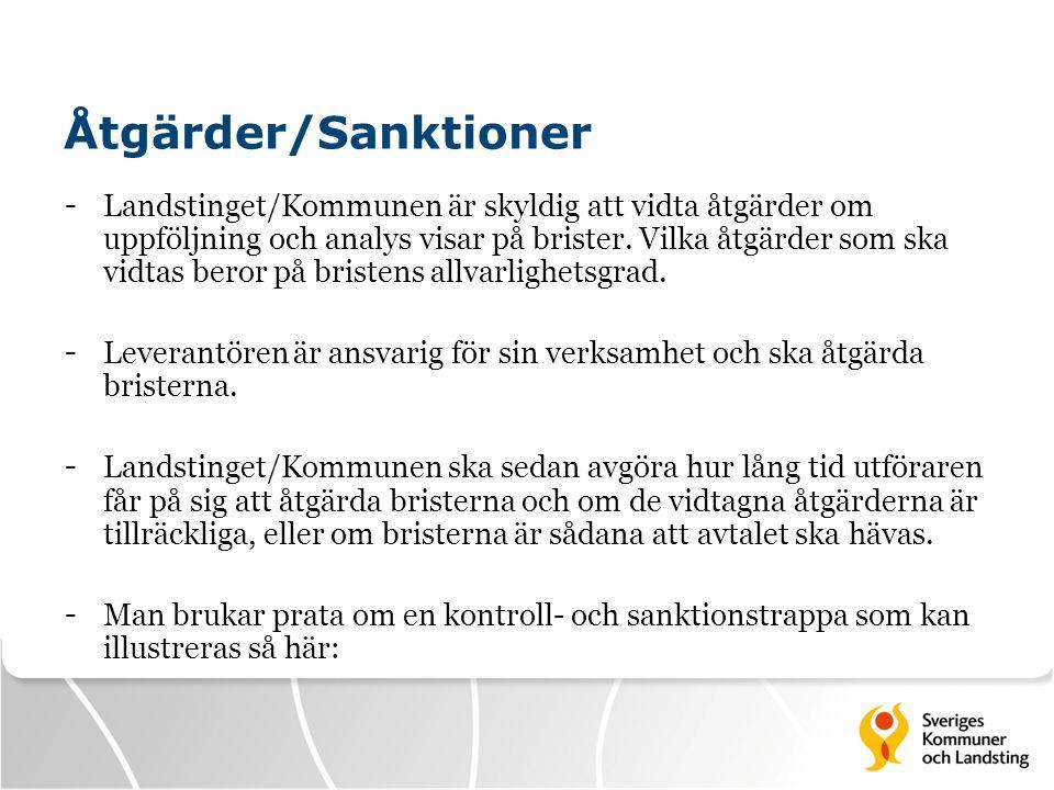 Åtgärder/Sanktioner - Landstinget/Kommunen är skyldig att vidta åtgärder om uppföljning och analys visar på brister. Vilka åtgärder som ska vidtas ber