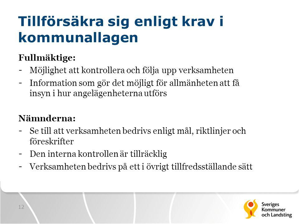 12 Tillförsäkra sig enligt krav i kommunallagen Fullmäktige: - Möjlighet att kontrollera och följa upp verksamheten - Information som gör det möjligt