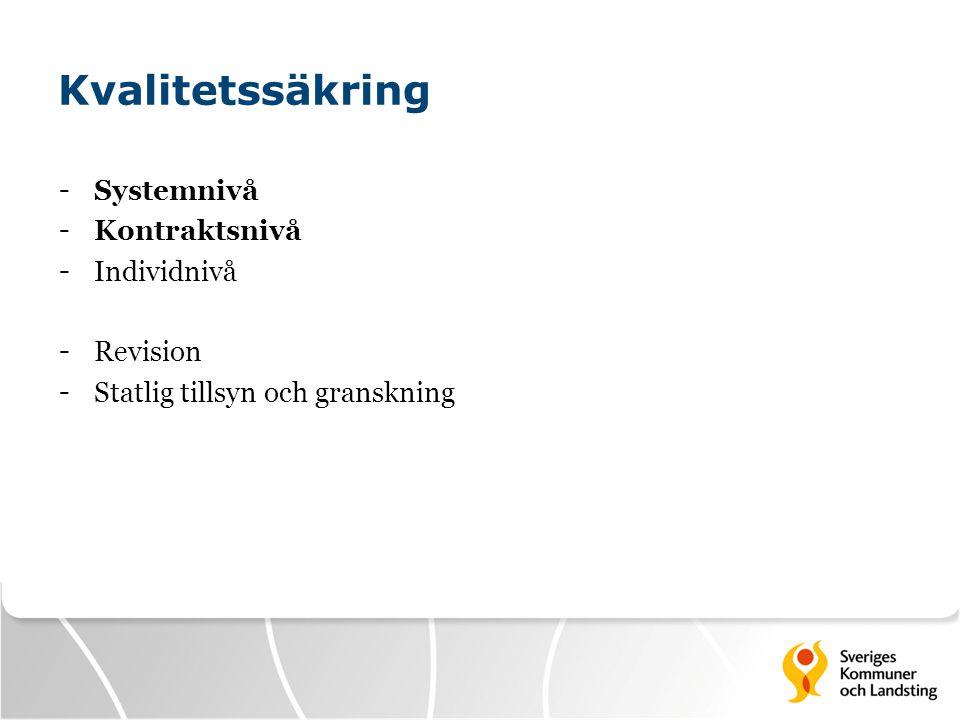 Kvalitetssäkring - Systemnivå - Kontraktsnivå - Individnivå - Revision - Statlig tillsyn och granskning