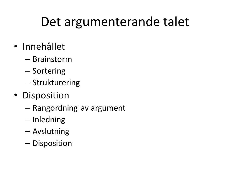 Det argumenterande talet • Innehållet – Brainstorm – Sortering – Strukturering • Disposition – Rangordning av argument – Inledning – Avslutning – Disp