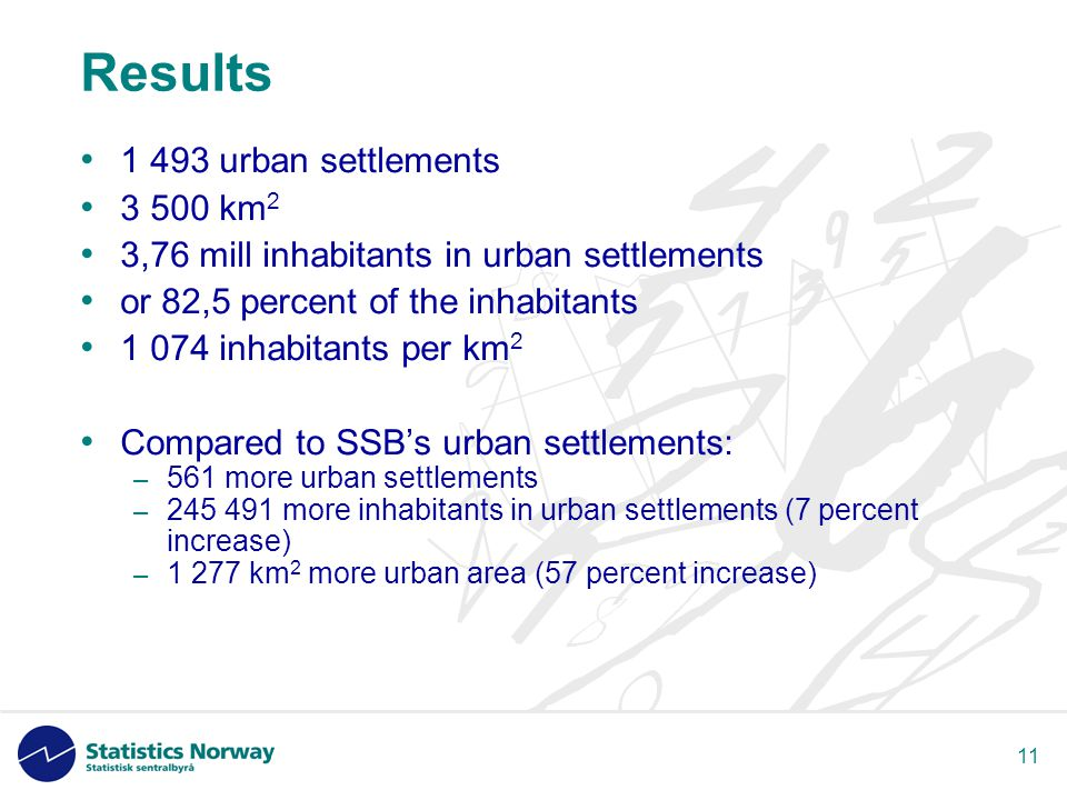 11 Results • 1 493 urban settlements • 3 500 km 2 • 3,76 mill inhabitants in urban settlements • or 82,5 percent of the inhabitants • 1 074 inhabitants per km 2 • Compared to SSB's urban settlements: – 561 more urban settlements – 245 491 more inhabitants in urban settlements (7 percent increase) – 1 277 km 2 more urban area (57 percent increase)