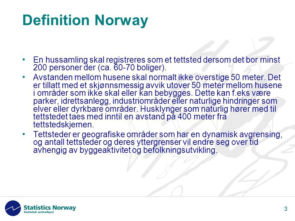 3 Definition Norway • En hussamling skal registreres som et tettsted dersom det bor minst 200 personer der (ca.