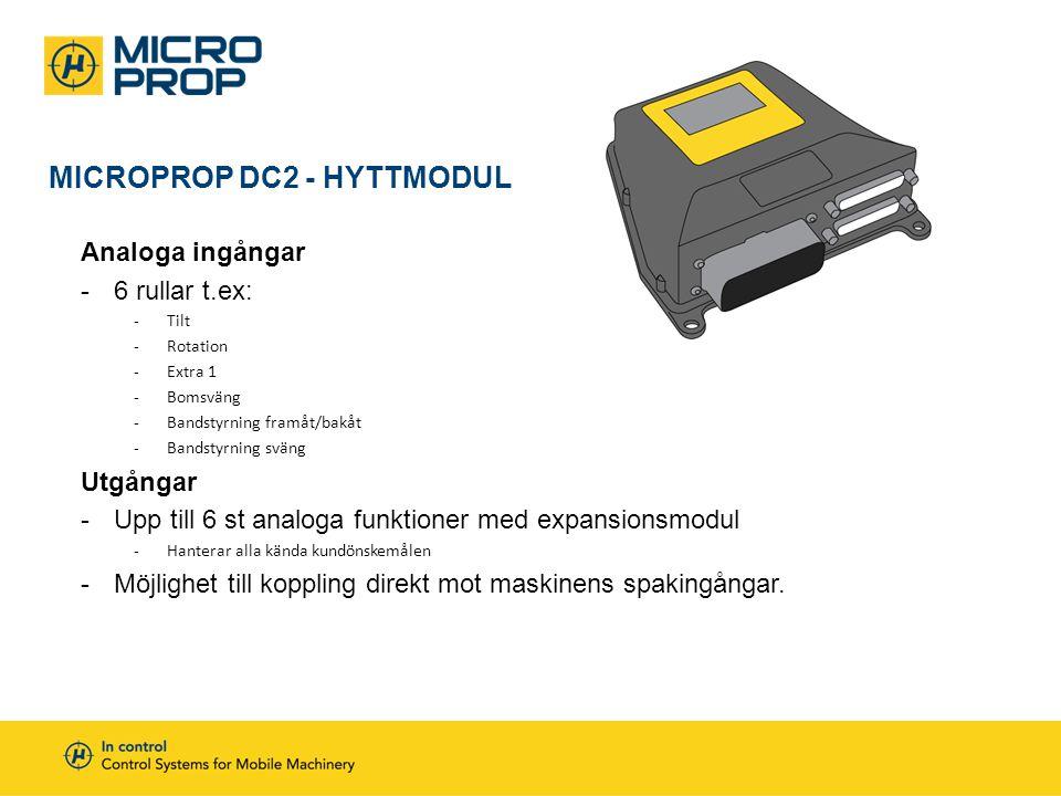 MICROPROP DC2 - HYTTMODUL Analoga ingångar -6 rullar t.ex: -Tilt -Rotation -Extra 1 -Bomsväng -Bandstyrning framåt/bakåt -Bandstyrning sväng Utgångar