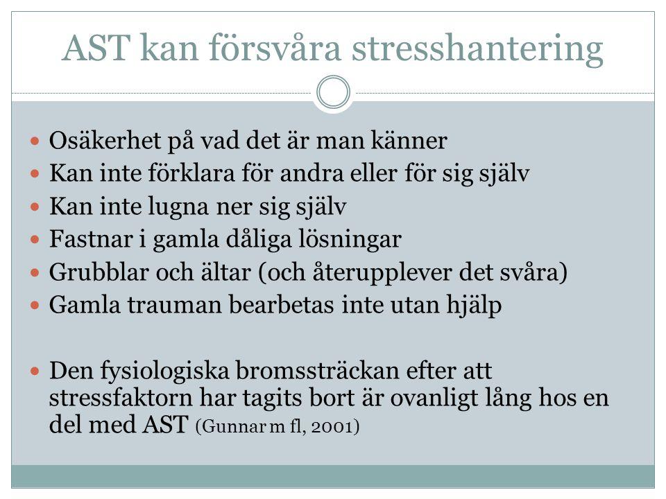 Skadlig stress -- konsekvenser  Minskad förmåga till nyinlärning  Personen tappar nyligen utvecklade, mest avancerade kognitiva funktioner  Personen blir mer funktionshindrad  Minskad motståndskraft  Ökad risk för kroppslig sjukdom och psykiska besvär