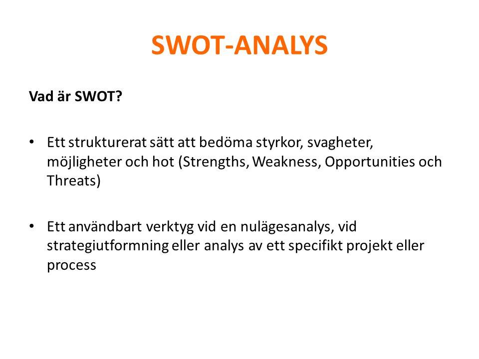 SWOT-ANALYS Vad betyder SWOT.• Styrkor – vad som är bra, lägesbeskrivning, specialistkunskap, etc.