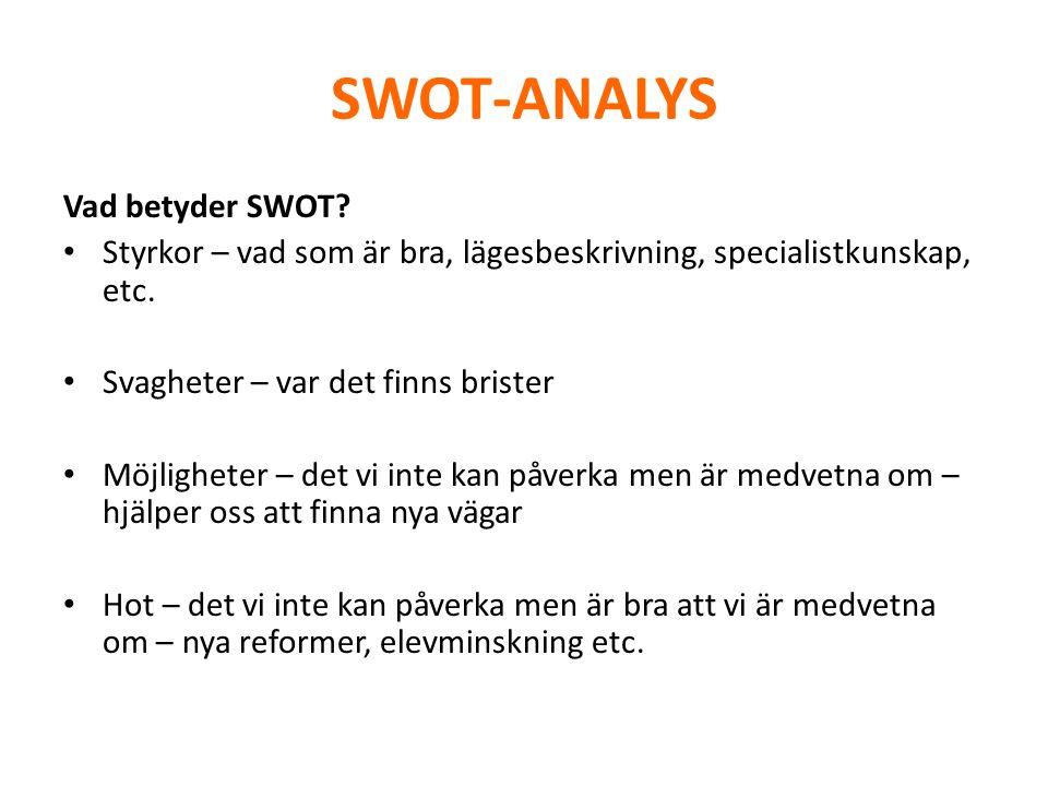SWOT-ANALYS Vad betyder SWOT? • Styrkor – vad som är bra, lägesbeskrivning, specialistkunskap, etc. • Svagheter – var det finns brister • Möjligheter