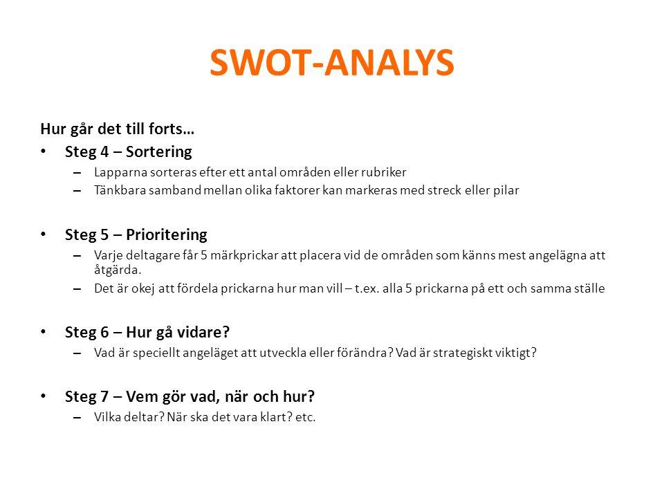SWOT-ANALYS Hur går det till forts… • Steg 4 – Sortering – Lapparna sorteras efter ett antal områden eller rubriker – Tänkbara samband mellan olika fa