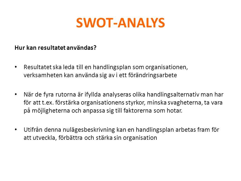 SWOT-ANALYS Hur kan resultatet användas? • Resultatet ska leda till en handlingsplan som organisationen, verksamheten kan använda sig av i ett förändr