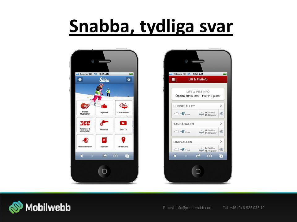 E-post: info@mobilwebb.com Tel: +46 (0) 8 525 036 10 Snabba, tydliga svar