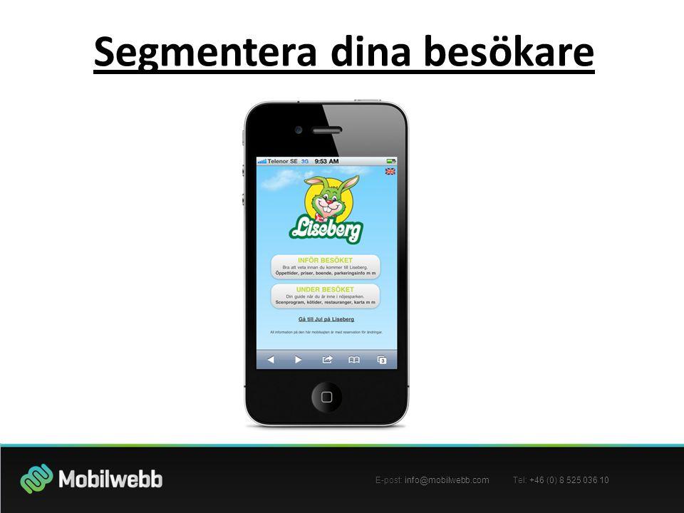 E-post: info@mobilwebb.com Tel: +46 (0) 8 525 036 10 Segmentera dina besökare