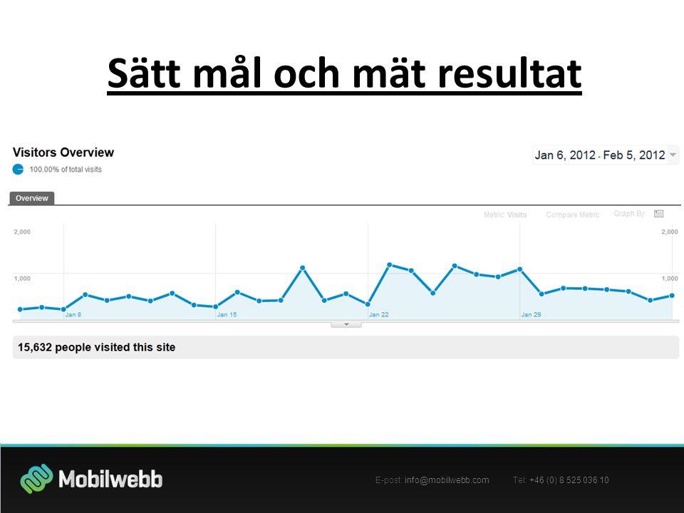 E-post: info@mobilwebb.com Tel: +46 (0) 8 525 036 10 Sätt mål och mät resultat