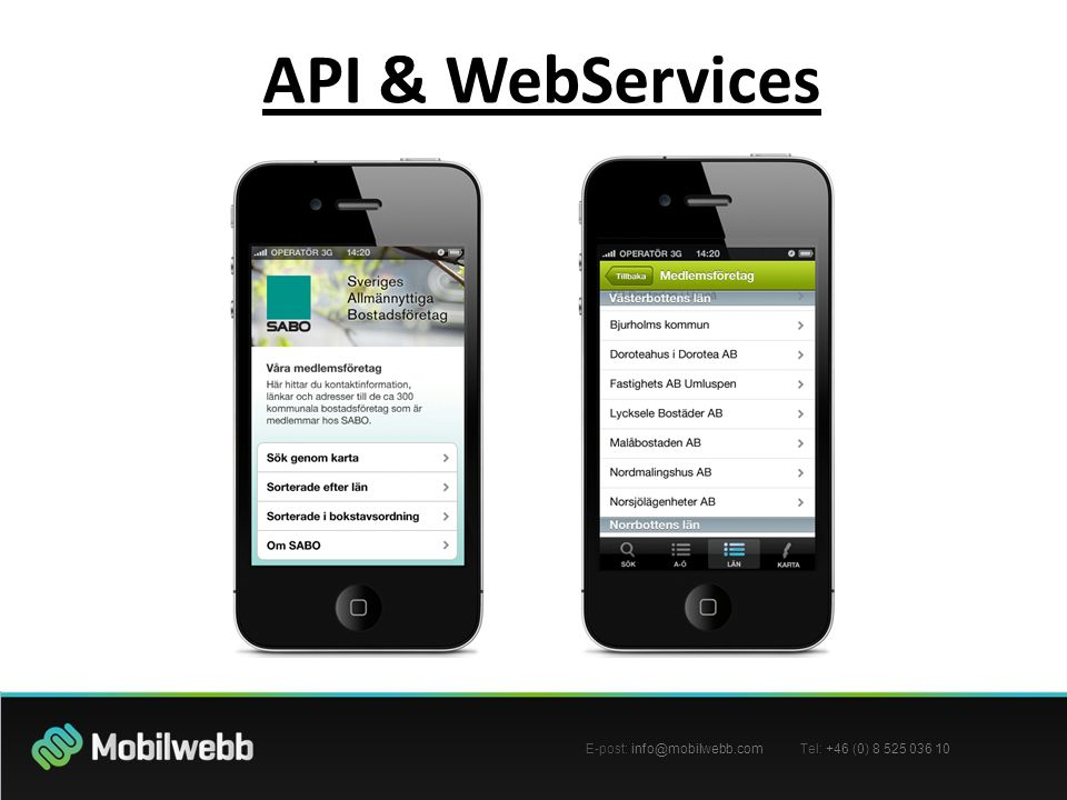 E-post: Tel: +46 (0) API & WebServices