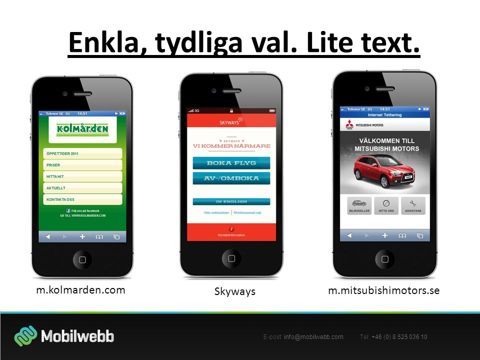 E-post: info@mobilwebb.com Tel: +46 (0) 8 525 036 10 Enkla, tydliga val. Lite text. m.kolmarden.com Skyways m.mitsubishimotors.se