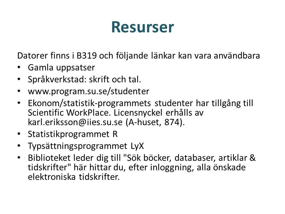 Resurser Datorer finns i B319 och följande länkar kan vara användbara • Gamla uppsatser • Språkverkstad: skrift och tal. • www.program.su.se/studenter