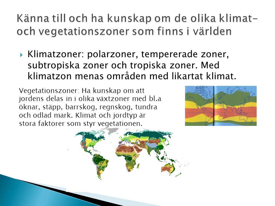  Klimatzoner: polarzoner, tempererade zoner, subtropiska zoner och tropiska zoner. Med klimatzon menas områden med likartat klimat. Vegetationszoner: