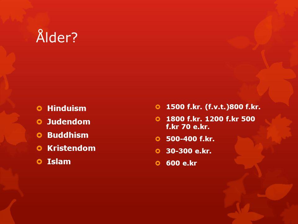 Ålder?  Hinduism  Judendom  Buddhism  Kristendom  Islam  1500 f.kr. (f.v.t.)800 f.kr.  1800 f.kr. 1200 f.kr 500 f.kr 70 e.kr.  500-400 f.kr. 