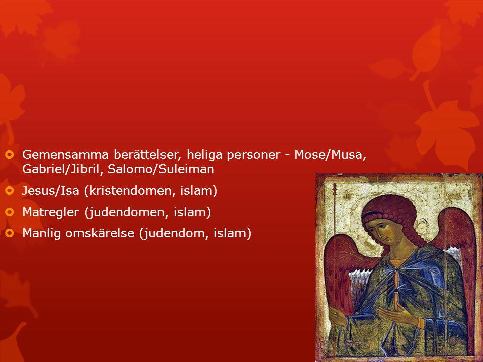  Gemensamma berättelser, heliga personer - Mose/Musa, Gabriel/Jibril, Salomo/Suleiman  Jesus/Isa (kristendomen, islam)  Matregler (judendomen, isla