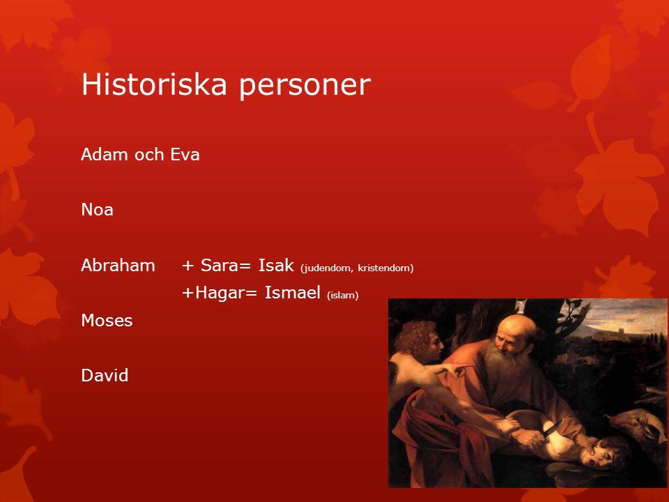 Historiska personer Adam och Eva Noa Abraham + Sara= Isak (judendom, kristendom) +Hagar= Ismael (islam) Moses David