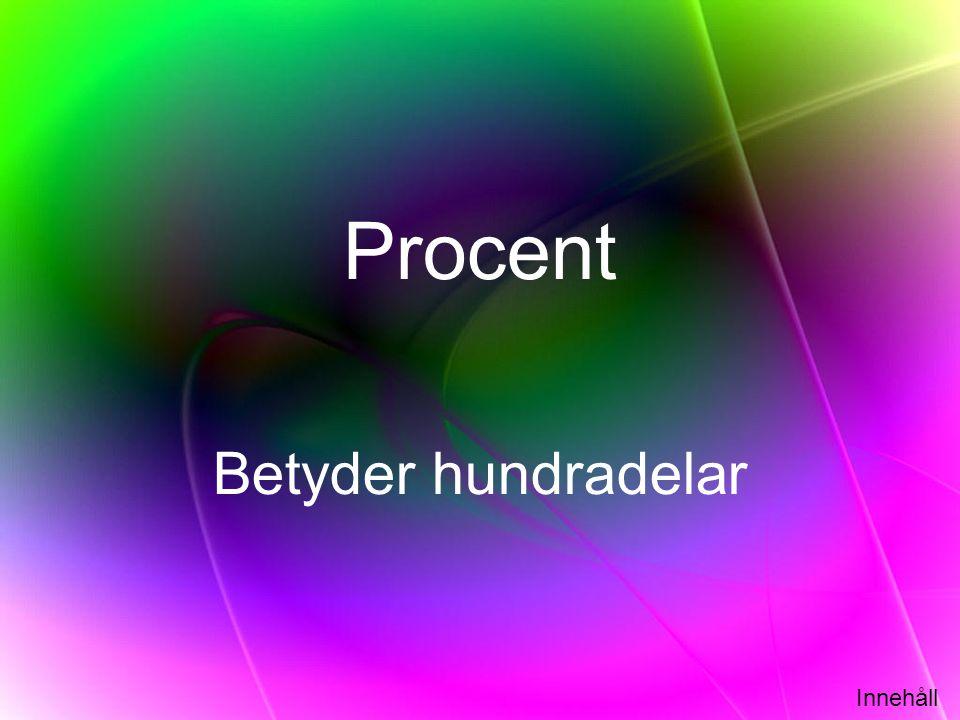 Innehåll Procent Betyder hundradelar