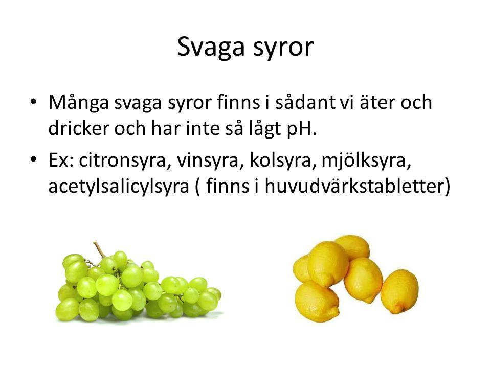 Svaga syror • Många svaga syror finns i sådant vi äter och dricker och har inte så lågt pH. • Ex: citronsyra, vinsyra, kolsyra, mjölksyra, acetylsalic