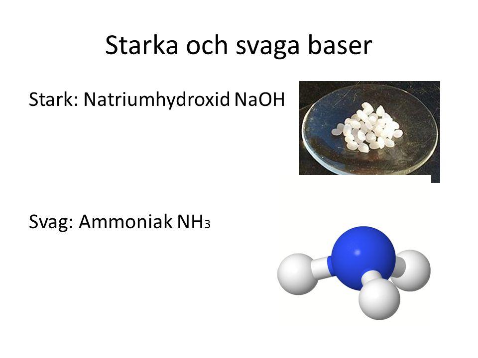 Starka och svaga baser Stark: Natriumhydroxid NaOH Svag: Ammoniak NH 3