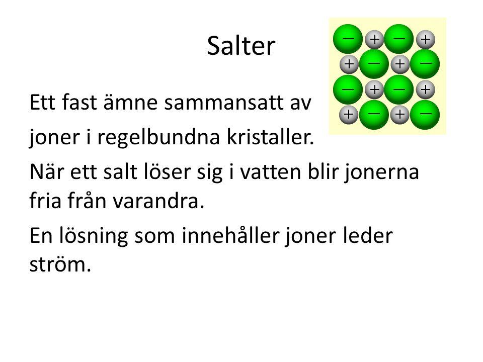 Salter Ett fast ämne sammansatt av joner i regelbundna kristaller. När ett salt löser sig i vatten blir jonerna fria från varandra. En lösning som inn