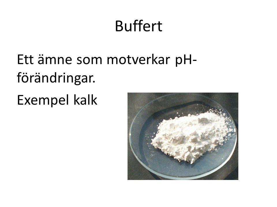 Buffert Ett ämne som motverkar pH- förändringar. Exempel kalk
