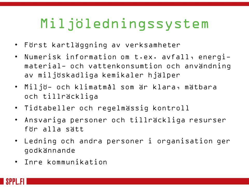 Miljöledningssystem •Först kartläggning av verksamheter •Numerisk information om t.ex. avfall, energi- material- och vattenkonsumtion och användning a