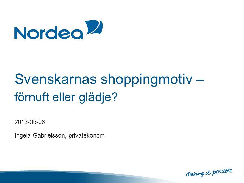 Svenskarnas shoppingmotiv – förnuft eller glädje 2013-05-06 Ingela Gabrielsson, privatekonom 1