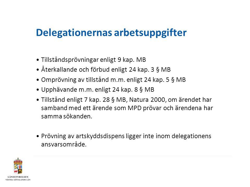 Delegationernas arbetsuppgifter •Tillståndsprövningar enligt 9 kap. MB •Återkallande och förbud enligt 24 kap. 3 § MB •Omprövning av tillstånd m.m. en