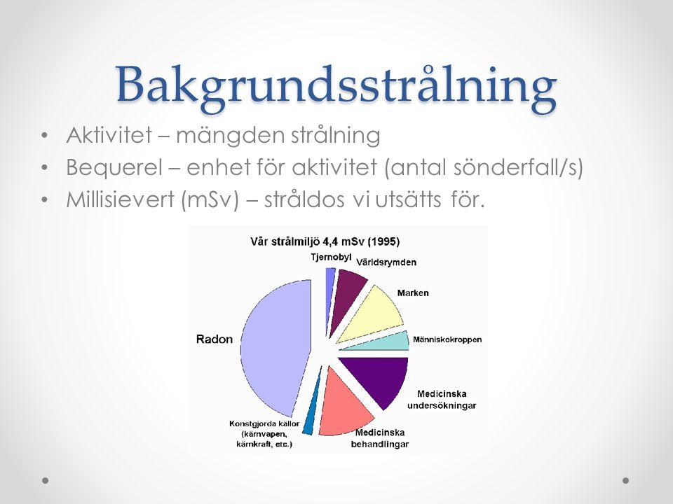 Bakgrundsstrålning • Aktivitet – mängden strålning • Bequerel – enhet för aktivitet (antal sönderfall/s) • Millisievert (mSv) – stråldos vi utsätts för.