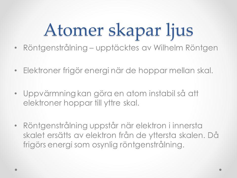 Atomer skapar ljus • Röntgenstrålning – upptäcktes av Wilhelm Röntgen • Elektroner frigör energi när de hoppar mellan skal. • Uppvärmning kan göra en