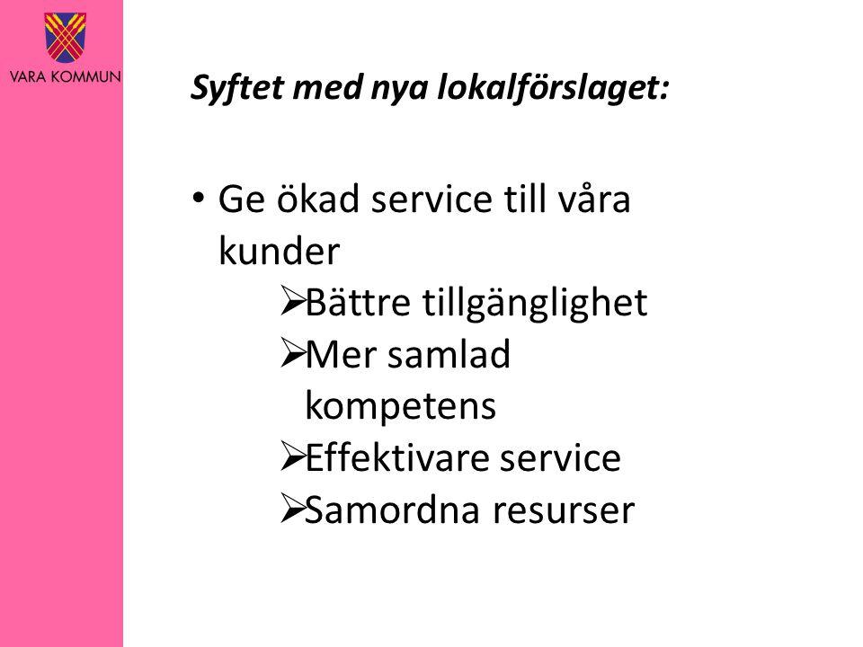 Syftet med nya lokalförslaget: • Ge ökad service till våra kunder  Bättre tillgänglighet  Mer samlad kompetens  Effektivare service  Samordna resurser