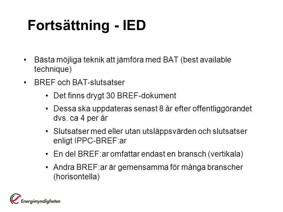 Fortsättning - IED •Bästa möjliga teknik att jämföra med BAT (best available technique) •BREF och BAT-slutsatser •Det finns drygt 30 BREF-dokument •De
