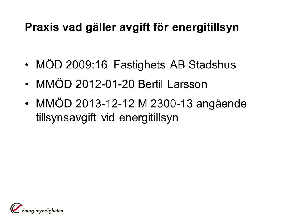 Praxis vad gäller avgift för energitillsyn •MÖD 2009:16Fastighets AB Stadshus •MMÖD 2012-01-20 Bertil Larsson •MMÖD 2013-12-12 M 2300-13 angående till