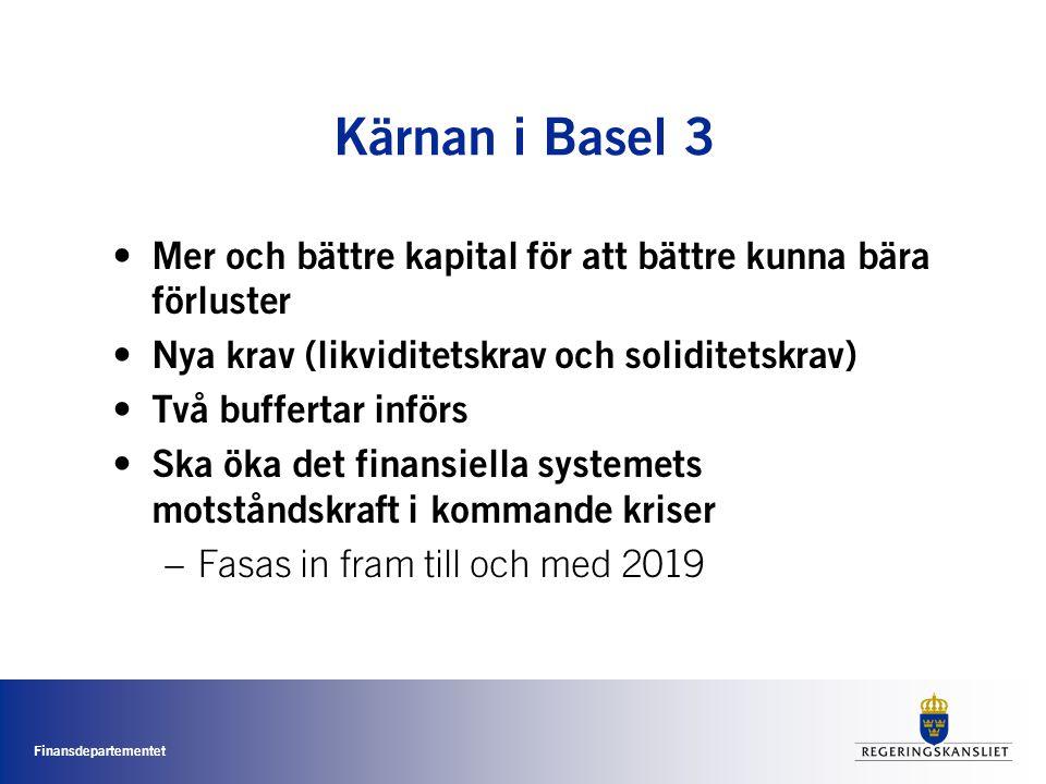 Finansdepartementet Kärnan i Basel 3 • Mer och bättre kapital för att bättre kunna bära förluster • Nya krav (likviditetskrav och soliditetskrav) • Två buffertar införs • Ska öka det finansiella systemets motståndskraft i kommande kriser –Fasas in fram till och med 2019