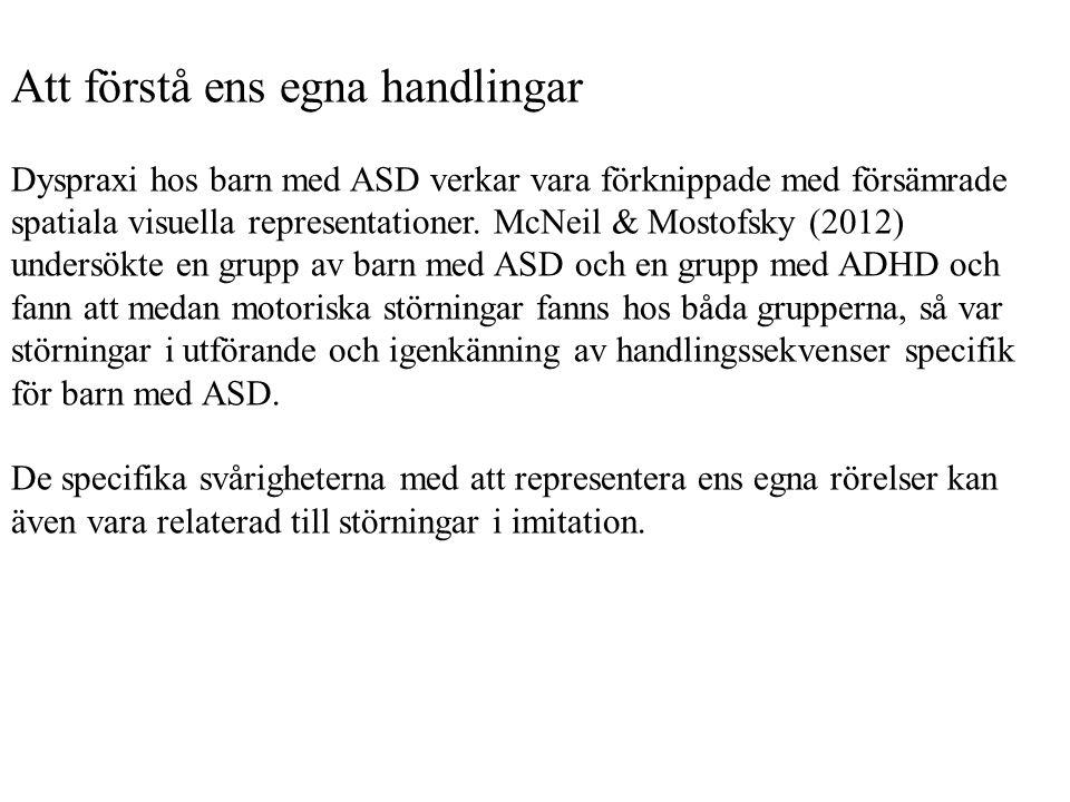 Att förstå ens egna handlingar Dyspraxi hos barn med ASD verkar vara förknippade med försämrade spatiala visuella representationer. McNeil & Mostofsky
