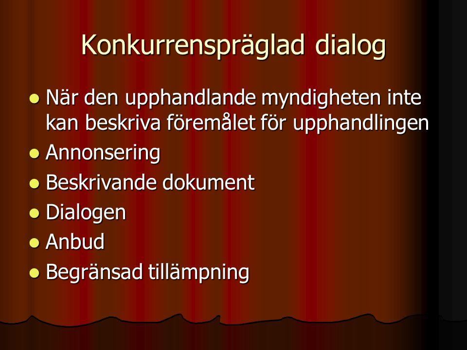 Konkurrenspräglad dialog  När den upphandlande myndigheten inte kan beskriva föremålet för upphandlingen  Annonsering  Beskrivande dokument  Dialo