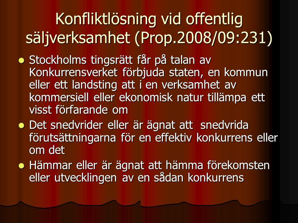 Konfliktlösning vid offentlig säljverksamhet (Prop.2008/09:231)  Stockholms tingsrätt får på talan av Konkurrensverket förbjuda staten, en kommun ell