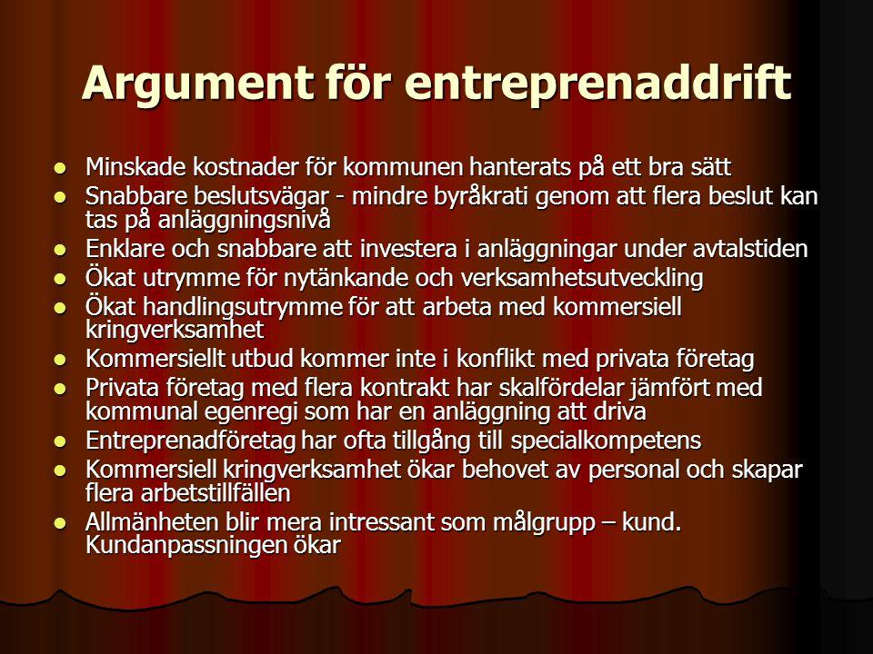Argument för entreprenaddrift  Minskade kostnader för kommunen hanterats på ett bra sätt  Snabbare beslutsvägar - mindre byråkrati genom att flera b