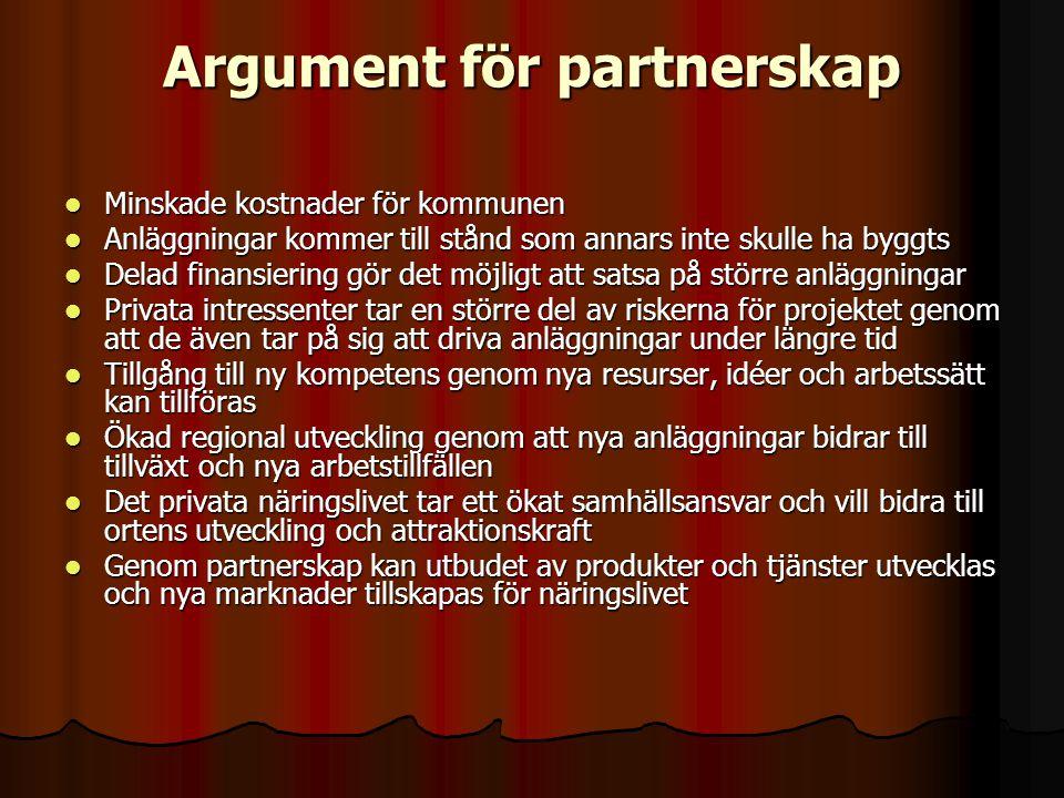 Argument för partnerskap  Minskade kostnader för kommunen  Anläggningar kommer till stånd som annars inte skulle ha byggts  Delad finansiering gör