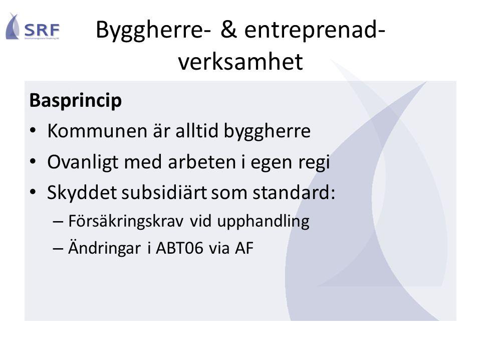 Byggherre- & entreprenad- verksamhet Basprincip • Kommunen är alltid byggherre • Ovanligt med arbeten i egen regi • Skyddet subsidiärt som standard: –