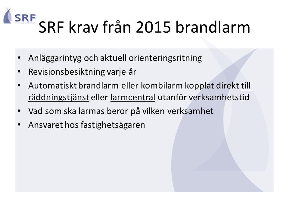 SRF krav från 2015 brandlarm • Anläggarintyg och aktuell orienteringsritning • Revisionsbesiktning varje år • Automatiskt brandlarm eller kombilarm ko