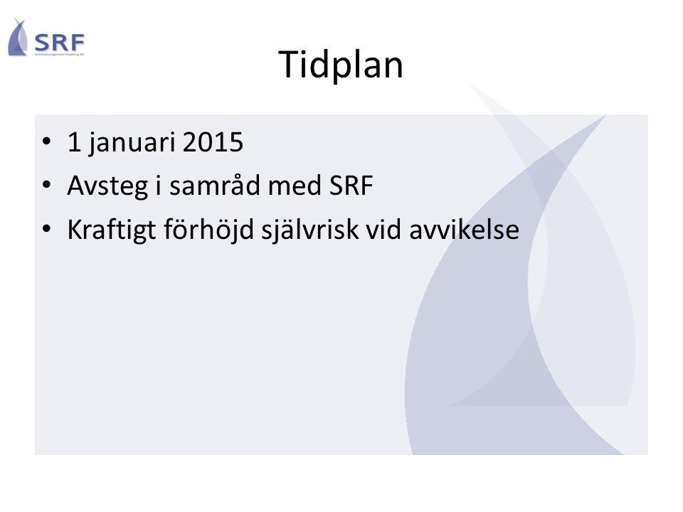 Tidplan • 1 januari 2015 • Avsteg i samråd med SRF • Kraftigt förhöjd självrisk vid avvikelse